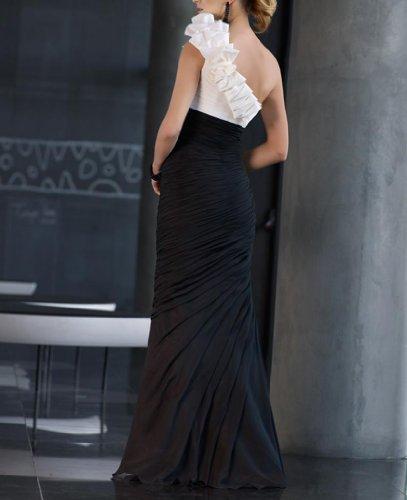 Dearta Women's Sheath One-Shoulder Floor-Length Dresses US 4 Black and White by Dearta (Image #2)
