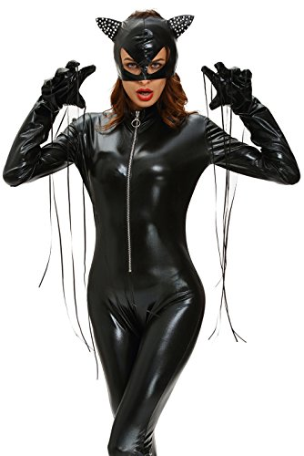 Women's Fierce Wet Look Halloween Cosplay Catwomen Bodysuit Sexy Tights Costume Masquerade