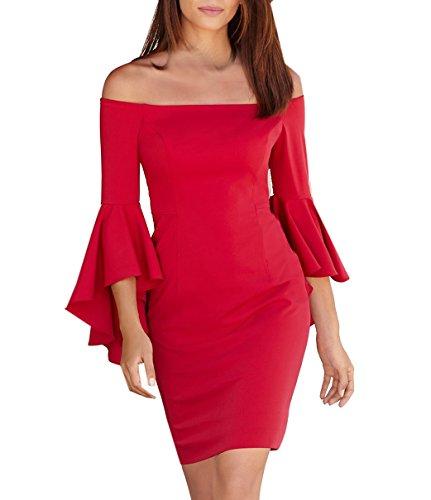Verano Mujer Colores Lisos Lápiz Vestidos Dress de Coctel Fiesta Casual Partido Sexy Cuello Barco Volantes Manga Larga Mini Vestido Bodycon Rojo