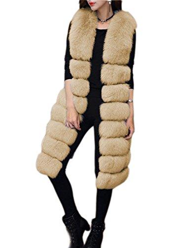 lungo FOLOBE di stile Womens Vest pelliccia cappotto Khaki inverno caldo ' Faux RqvpwRZ6