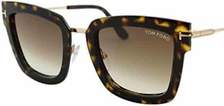 dd45f7ac95a5 2018 Tom Ford Lara-02 FT0573 Women Dark Havana   Gold Square T Logo  Sunglasses