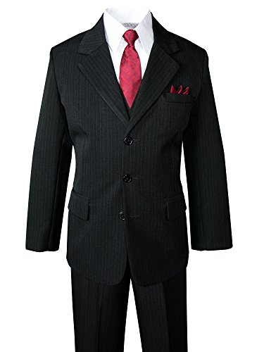 Spring Notion Big Boys' Pinstripe Suit Set Black-Red Tie 5