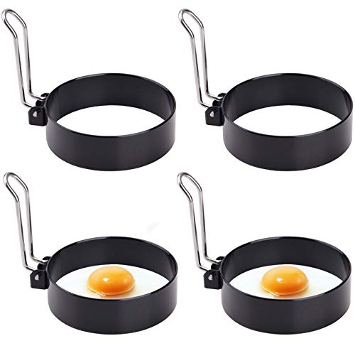Egg Ring, Round Professional Pancake Mold, Egg Cooker Rings For Cooking, Stainless Steel Non Stick Round Egg Ring Mold For Fried Egg McMuffin Sandwiches 4PCS (4 PCS)