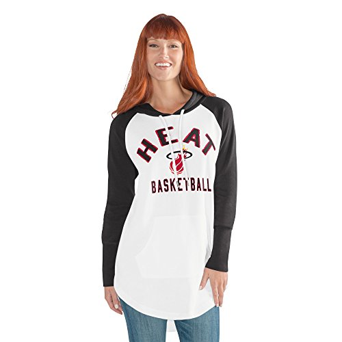 (GIII For Her NBA Miami Heat Women's All Division Hoody, Large, White/Black)