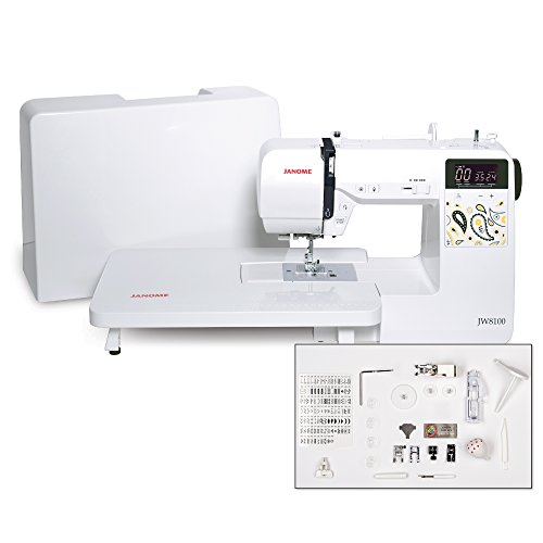 Janome JW8100 Fully-Featured Computerized Sewing Machine with 100 Stitches, 7 Buttonholes, Hard Cover, Extension Table and 22 Accessories ()