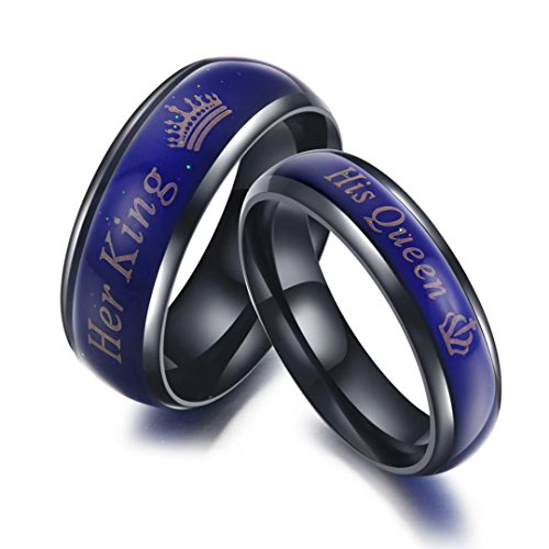 Amazing Mood Ring For Her King and His Queen In Titanium Stainless Steel Color-Changing Ring Engagement/Wedding/Promise Rings For Couples Gift