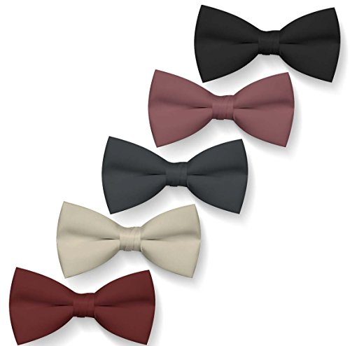 Roo Threads Bow Ties for Boys 5 Pack Blush, Burgundy, Beige, Dark Gray, (Little Threads)