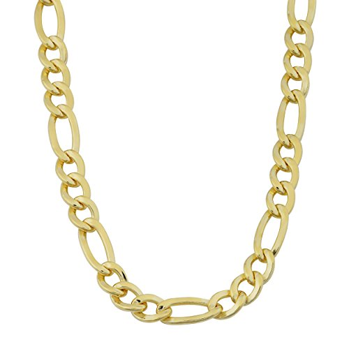 Kooljewelry Mens 14k Yellow Gold Filled Solid 6 mm High Polish Figaro Chain Necklace (18.00 inch) - Figaro Solid Necklace