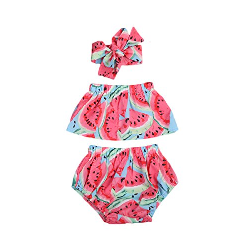 (3pcs Baby Girl Watermelon Off Shoulder Lotus Ruffle Romper+Short Pants+Headband Outfit (12-18 Months, Red))