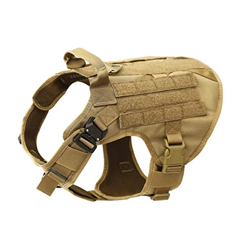 MXSLEUT Tactical K9 Harness with Handle Service Molle Dog Vest(M, Tan)