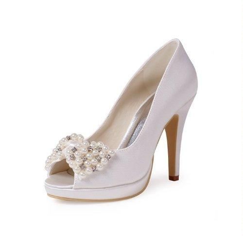 Minitoo GYMZ656 Womens Stiletto High Heel Ivory Satin Evening Party Bridal Wedding Beading Shoes 6