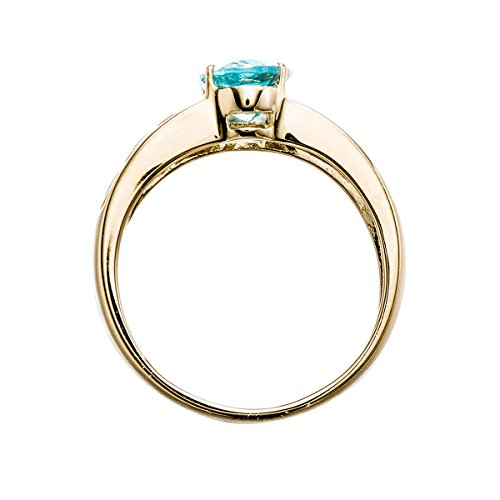 Hutang Jewelry   10ct yellow gold  Or jaune 10 ct Ovale   Bleu Aquamarin