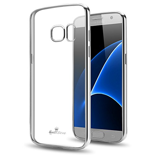 Samsung Galaxy S7 Case,Hallsen [Electroplating TPU] Ultra Slim Anti-Scratch Premium Clear Crystal Back Cover Soft Flexible TPU Case Cover for Samsung Galaxy S7 - Silver