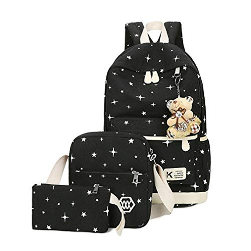 School Green L25cm Bags Backpacks Canvas Bear 3Pcs H43cm Women Cute Sets W12cm Girl Black fwgqx0z