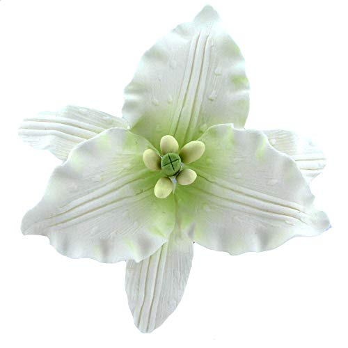 - Global Sugar Art Casablanca Lily Sugar Flowers Large, White with Green Center, 9 Count by Chef Alan Tetreault