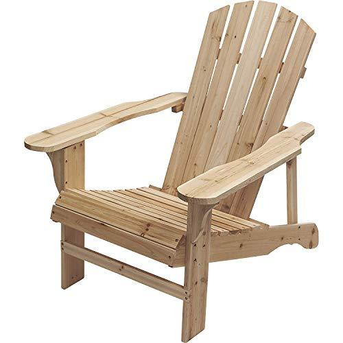 LOKATSE HOME Outdoor Pario Garden Wood Adirondack Chair Large Natural (Lounge Adirondack)