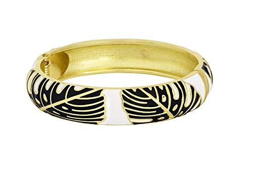 (Aloha Jewelry Company Hawaiian Monstera Luau Leaves Hinged Clasp Fashion Enamel Bangle Bracelet)