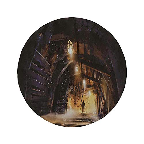 (Non-Slip Rubber Round Mouse Pad,Fantasy Art House Decor,Underground Tunnel of The Mine Shaft Smokey Dark Rocky Abandoned,Orange Purple,7.87