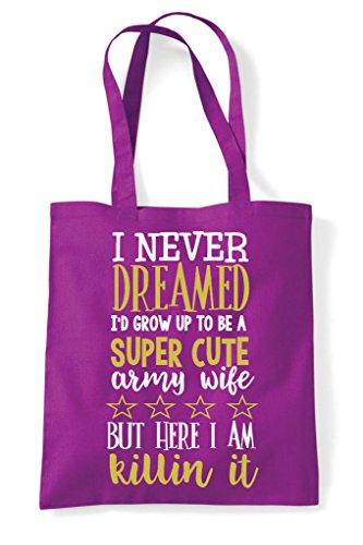 Bag Cute Army Shopper Super Tote Wife Magenta R4InxUT