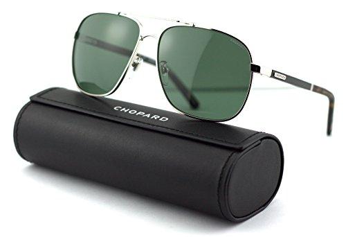 Chopard SCH B77 Unisex Aviator Metal Sunglasses (Polish Palladium Frame, Grey Green Polarized Lens 579P) ()