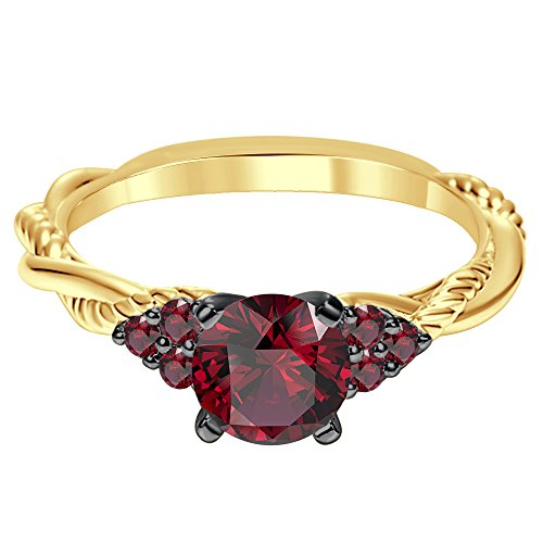 Silvergemking 14K Yellow Gold Plated 1.52 Ct 7 Stones Red Garnet CZ Diamonds Twist Shank Engagement Ring ()