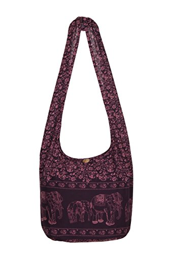 Elephant Gypsy Purple Purse Shoulder Cotton Hippie Bag Bag Travel Boho Sling 100 Dark Beach Thai wxYEaCnqn