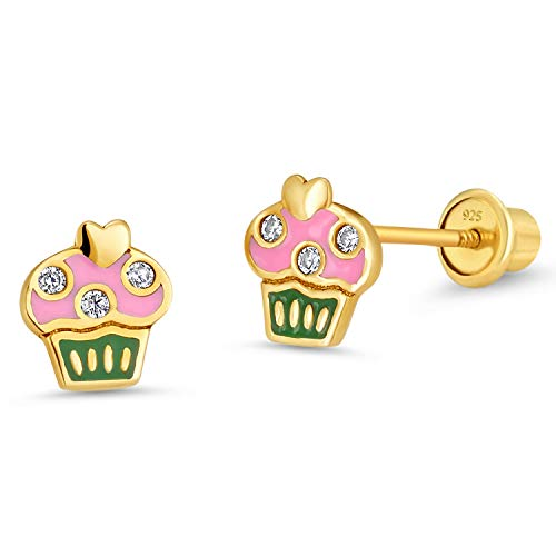 14k Gold Plated Enamel Cupcake Baby Girls Screwback Earrings with Sterling Silver -