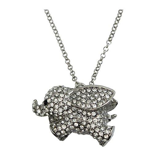 WIIPU New Comming Lovely Dumbo Big Ear Elephant Crystal Pendant Necklace(WIIPU-B160) ()