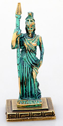 Ancient Greek Bronze Museum Statue Replica of Athena Olympian Pantheon Goddess Of Wisdom (Green/gold)