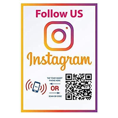 Follow Us on Instagram Sticker - Social Media QR Code and NFC Tag - Storefront Window Sticker - Two-Sided Window Sticker - Custom-Designed for Instagram: Office Products