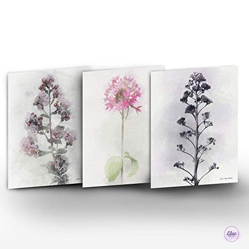 Handmade Floral Wall Art Home Décor, Bohemian Botanical Flower Watercolor Painting Prints Set of 3, Boho Decoration Collection for Any Room, Housewarming & Hostess Gift Idea, 8 X 10, Unframed