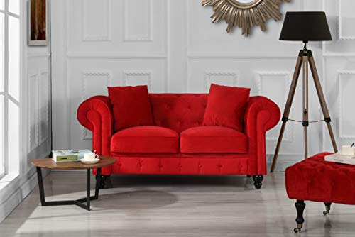 (Divano Roma Furniture Classic Modern Scroll Arm Velvet Chesterfield Love Seat Sofa (Red))