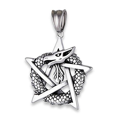 (Pentagram Dragon Interwoven Pendant Star Weave Infinity Oxidized Charm - Silver Jewelry Accessories Key Chain Bracelet Necklace Pendants)