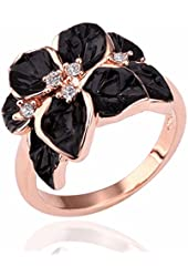 Jewelry Ring With Rose Gold Plt SWA Elements Austrian Crystal Black Enamel Flower/Wedding Ring For Women