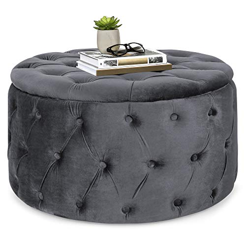 (Best Choice Products 29.5in Round Modern Button-Tufted Velvet Ottoman Footrest Stool Accent Furniture, Coffee Side Table for Living Room, Bedroom w/Wood and Foam Frame - Dark Gray)