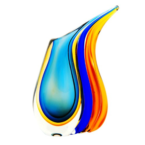 - Luxury Lane Hand Blown Multicolor Sommerso Teardrop Art Glass Vase with Angled Lip 11