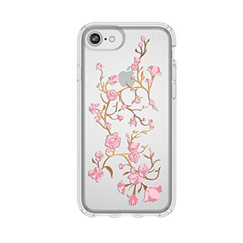 Speck iPhone 8 Presidio Clear + Print Case, IMPACTIUM 8-Foot Drop Protected iPhone Case that Resists UV Yellowing, Golden Blossoms Pink/Clear