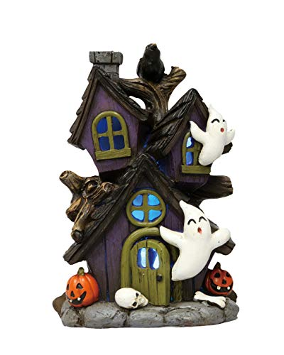 Transpac Imports D0129 Mini Resin Light Up Haunted Ghost House Decor, - Haunted House Mini