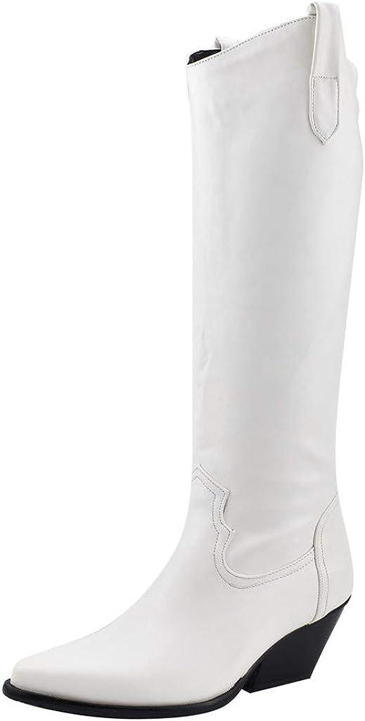 ZARLLE Zapatos de Tacón de Mujer,Botas hasta Las Rodillas Caballero,Botines de Moda,Talla Grande Botas de Mujer,Color sólido Botas de Cuero,Otoño e Invierno Boots,Botines Chelsea