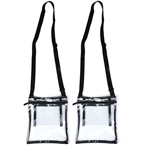 Youngever Clear Cross-Body Purse, Stadium Approved Clear Vinyl Bag, Adjustable Cross-Body Strap, Extra Inside Pocket (2 Pack)