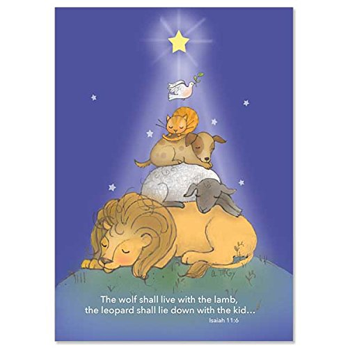 Lion and Lamb with Dog, Cat and Bird Deluxe Religious Christmas Cards with Embossed Envelopes 18 Per Box