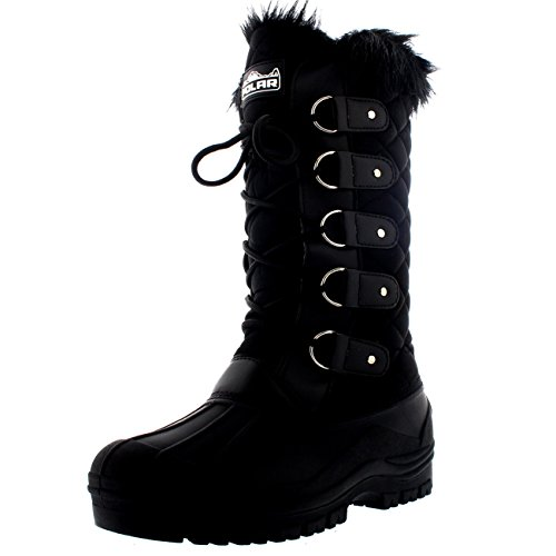 Polar Womens Waterproof Tactical Mountain Walking Snow Knee Boots - Black - US9/EU40 - YC0356
