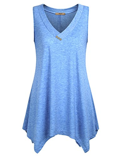 Miusey Flowy Tops for Women Ladies Sleeveless V Neck Shirts Cotton Comfy Asymmetrical Flared Hem Summer Flowy Tunic Tank Blue L