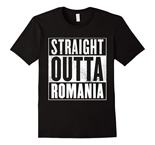 Mens Romania T-Shirt - STRAIGHT OUTTA ROMANIA Shirt Medium Black