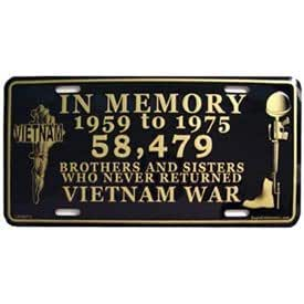 Amazon Com Vietnam In Memory 1959 1975 License Plate