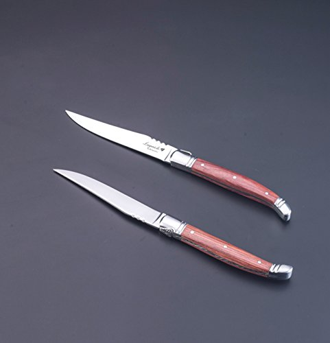 FlyingColors Laguiole Steak Knife. Stainless Steel, Rose Wood Handle, Wooden Gift Box, 6 Piece by LAGUIOLE BY FLYINGCOLORS (Image #4)