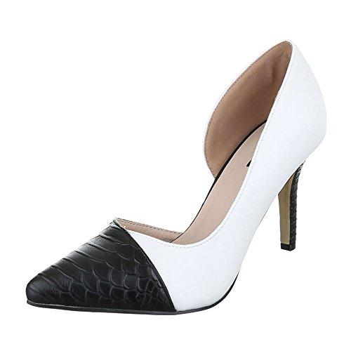Ital-Design - Plataforma Mujer blanco y negro