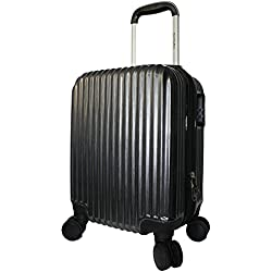 BoardingBlue New Airlines Personal Item Under Seat Spinner Hard Luggage (Black)