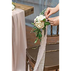 Ling's moment Wedding Aisle Decorations Flowers for Chairs Set of 8 Cream Blush Pew Flowers with Drapes 2