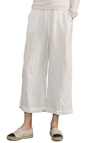 Womens Cropped Wide Leg Linen Pants (Women's White Linen Pants Casual Loose Linen Cropped Wide Leg Pants(White,L))